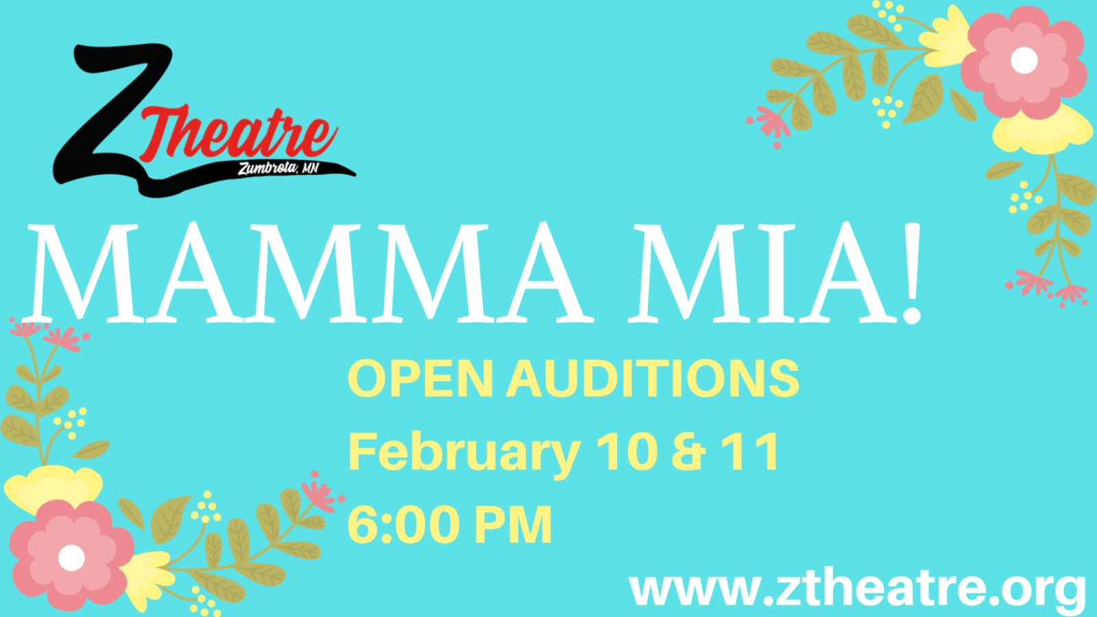 z-theatre zumbrota mamma mia audition musical abba mamma mia